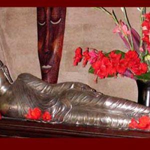 Silver Reclining Buddh: Small